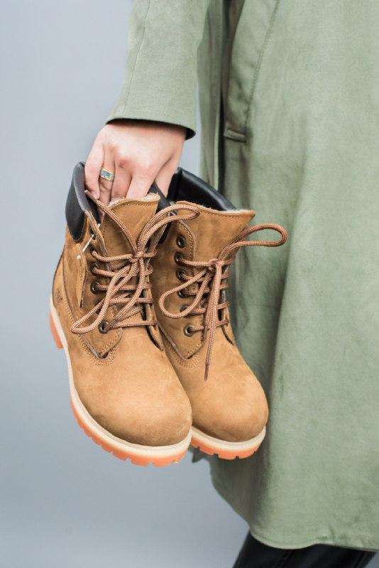 Шикарные женские зимние ботинки timberland brown