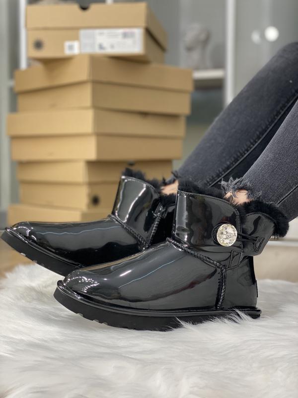 Шикарные женские угги ugg bailey button  mini black