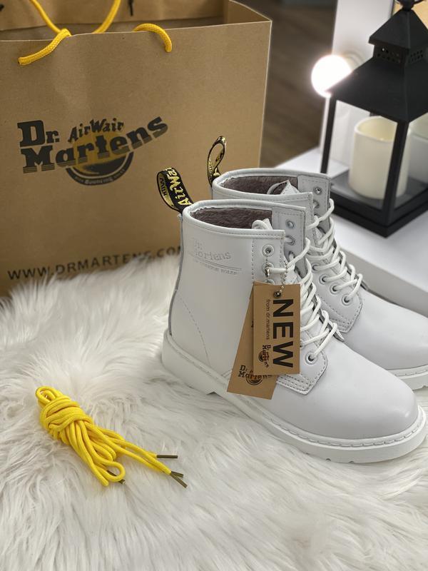Шикарные женские зимние ботинки dr. martens mono white