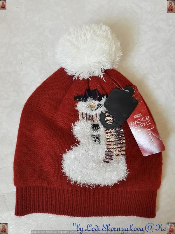 Фирменная marks & spenser с биркой шапка с белым бубоном со сн...