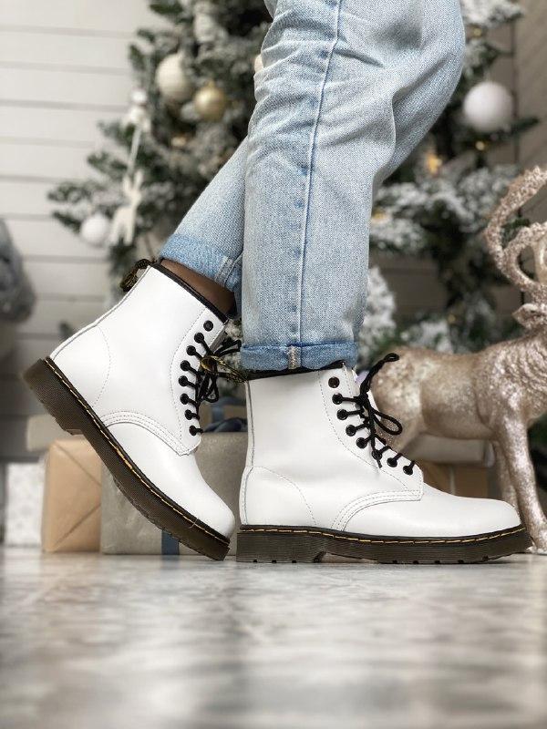 Dr. martens 1460 white fur зимние ботинки с мехом