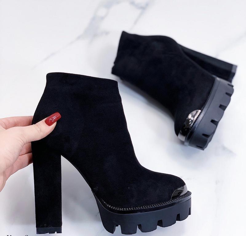 Новые шикарные женские зимние черные ботинки ботильоны