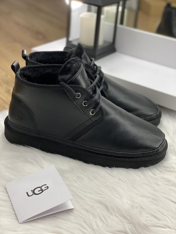 Шикарные мужские зимние угги ugg neumel black leather