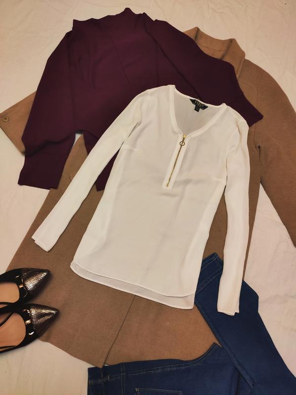 Белая блуза шифоновая длинный рукав на молнии lipsy