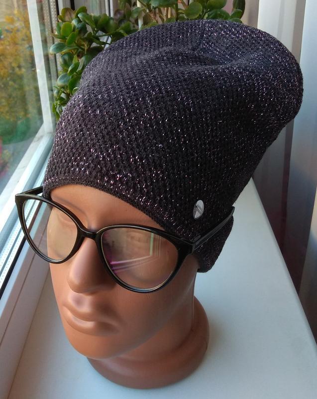 Новая стильная шапка с люрексом (на флисе), темно-серая
