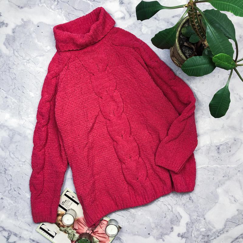Яркий велюровый удлиненный свитер оверсайз
