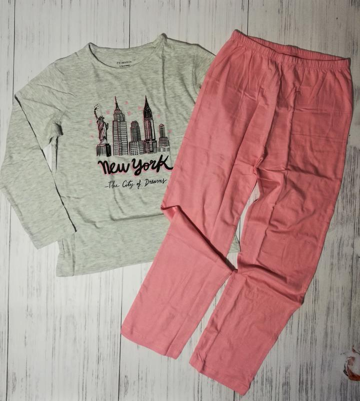 Хлопковая пижама new york 140-146, 152-158 primark, для девочки