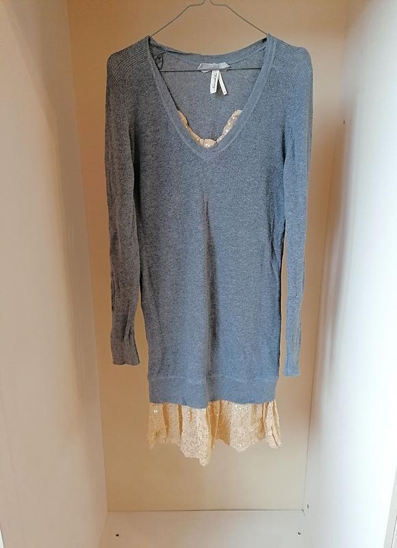 Вязаное серое платье с юбкой рюшами и пайетками next (к066)