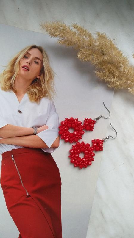 Серьги, вечерние серьги, красные сережки, сережки, кульчики