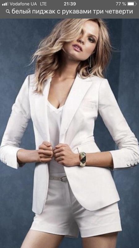 Белый пиджак с рукавами в три четверти