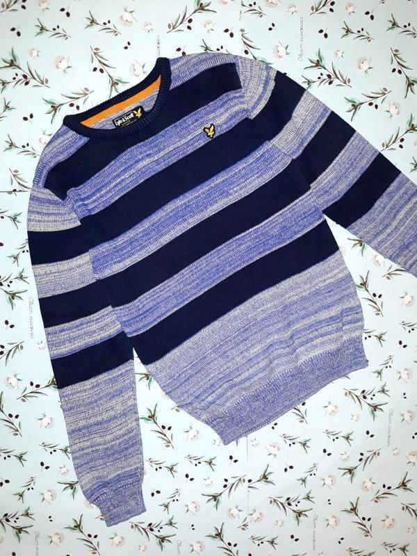 Фирменный теплый свитер в полоску lyle&scott, размер 42 - 44