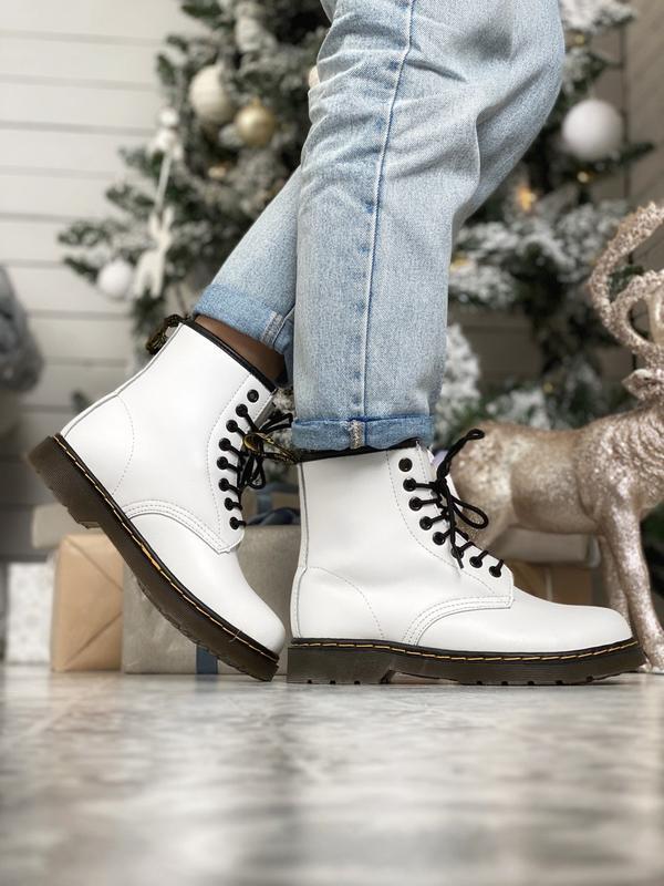Dr. martens 1460 white fur 🤗 женские зимние ботинки мартинс бе...