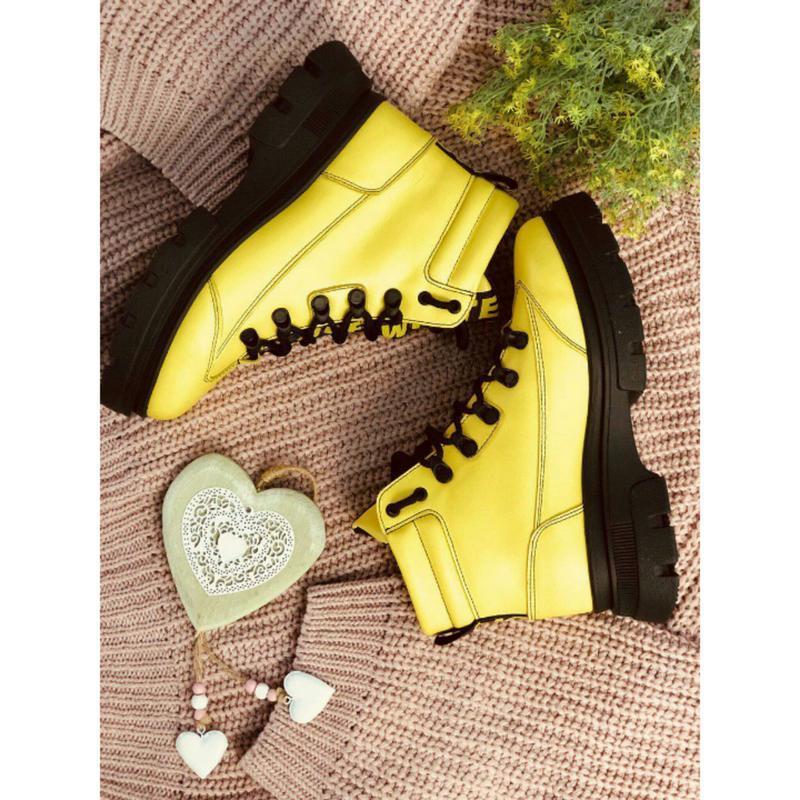 Крутые желтые ботинки кожа зима украина