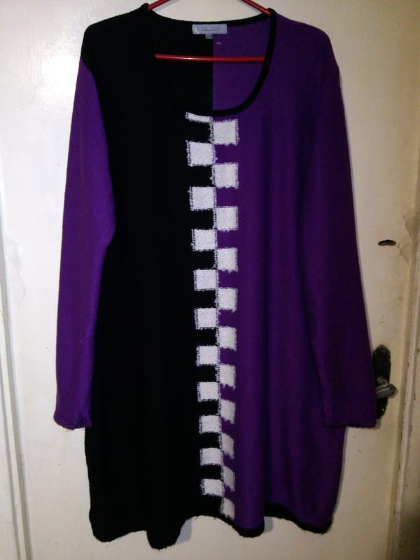 Тёплое,трикотажной вязки,эффектное платье-туника,большого evr ...