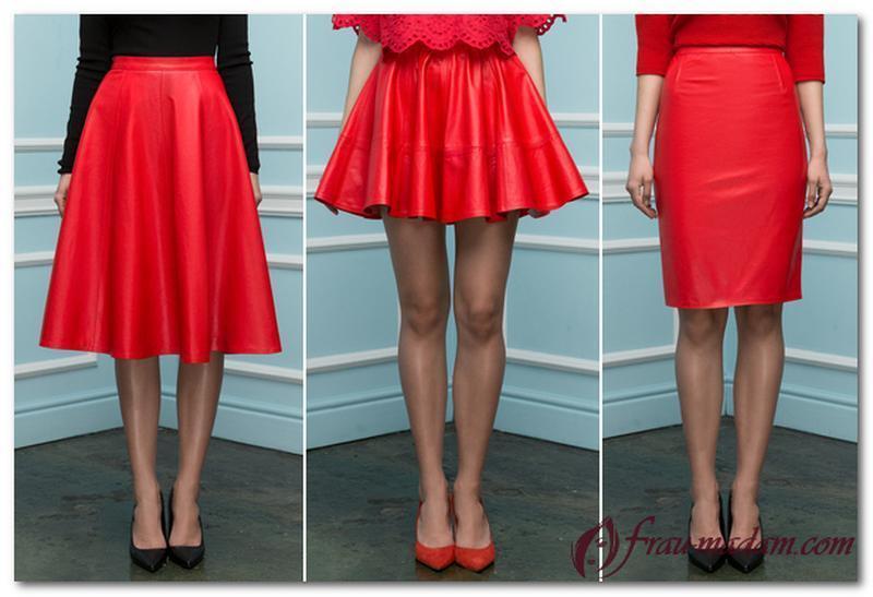 Ярко - красная кожаная юбка колокольчик, эко-кожа