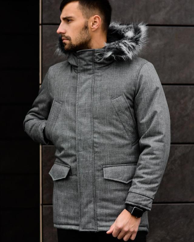 Шикарная мужская зимняя куртка удлиненная серая с капюшоном и ...