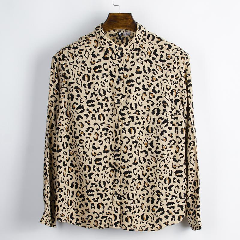 Леопардовая рубашка женская, модная рубашка с длинным рукавом