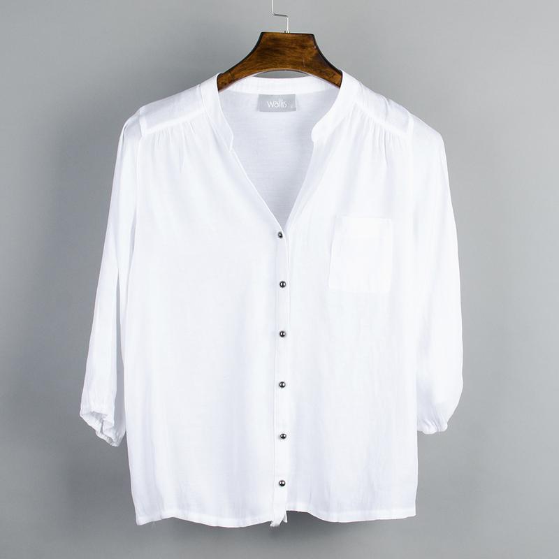 Белая блуза с длинным рукавом, белая рубашка женская, однотонн...
