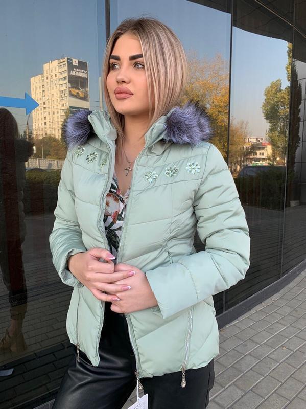 Тёплая зимняя куртка пуховик с искусственным мехом