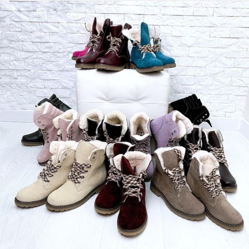 36-41 натуральные замшевые ботинки черные / деми зима