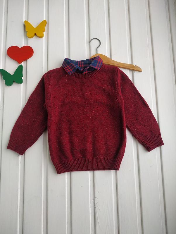 1,5-2 года,свитер с рубашкой обманкой,next