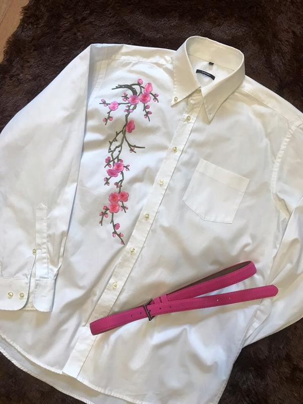 Брендовая белая рубашка с вышивкой германия 50- 52-54