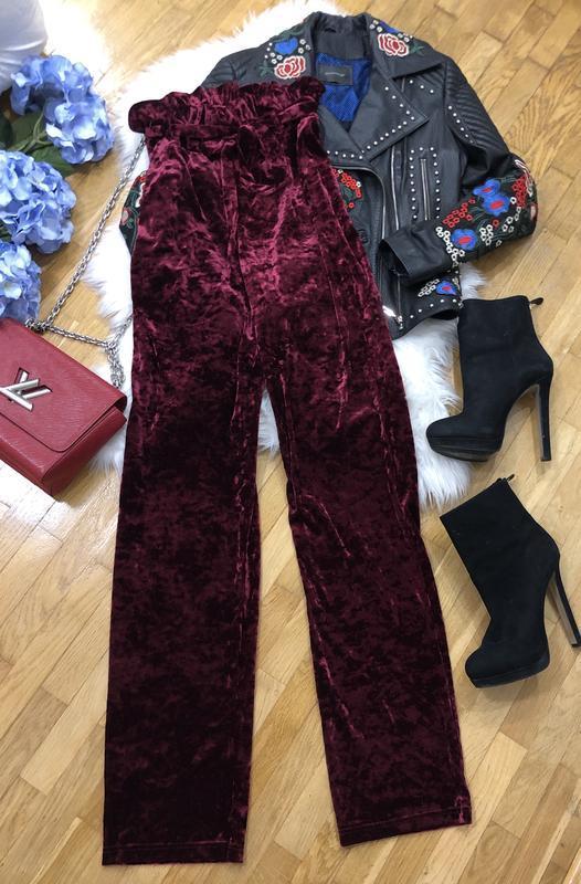 Новые велюровые штаны бургунди asos размер m