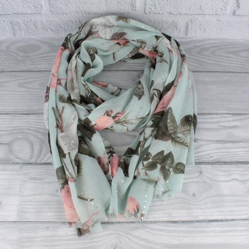 Красивый шарф, палантин butef 0008-2 мятный с пайетками, есть ...