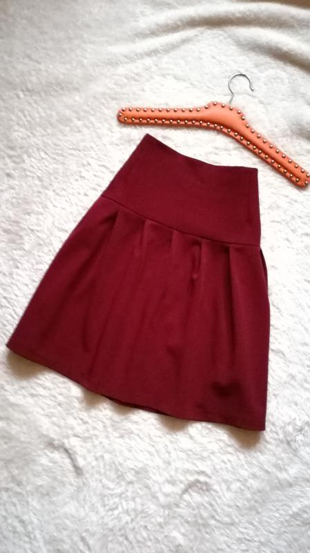 Юбка бордового цвета на кокетке р.36-38