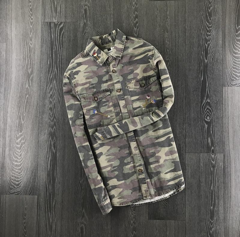 Стильная мужская рубашка, хаки, оригинал (3r77)
