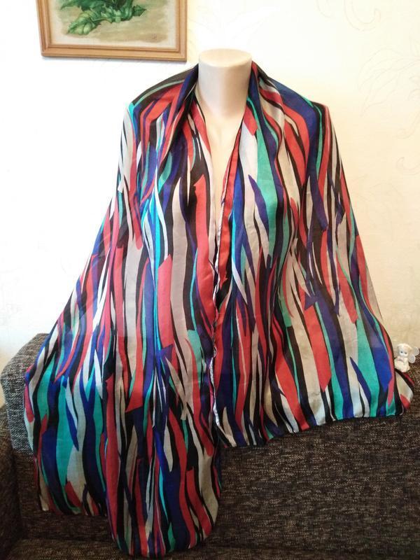 Шелковый шарф в разноцветную нервную полосочку, 179*50