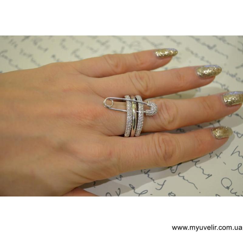 Кольцо булавка из серебра