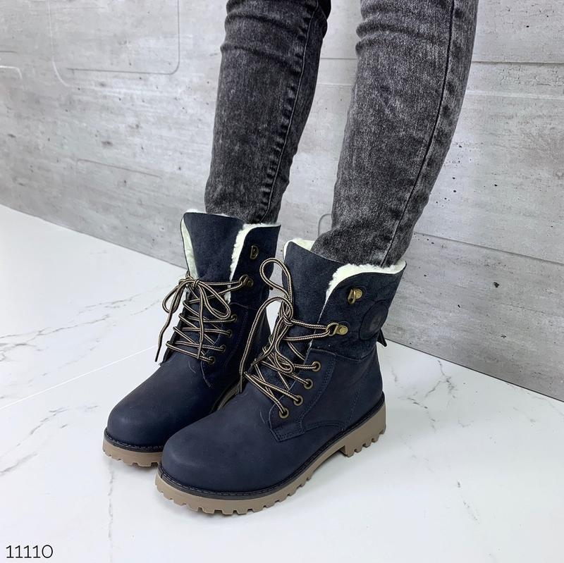 Зимние ботинки синего цвета,стильные тёплые ботинки на шнуровке.