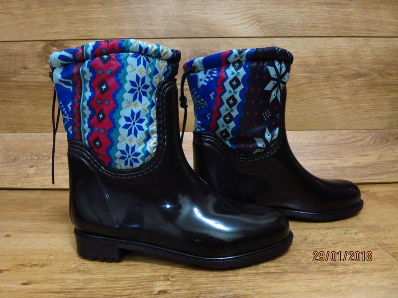 Женские резиновые утепленные сапоги,полусапоги,ботинки,для дев... - Фото 3