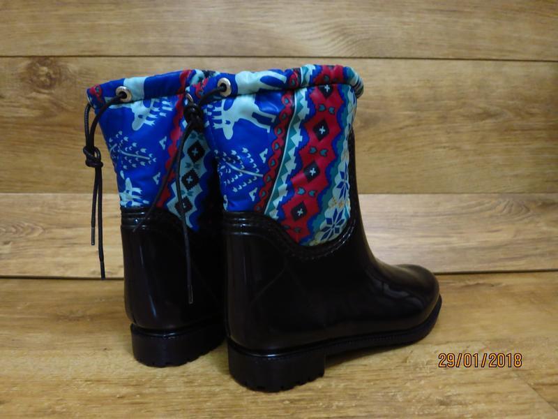 Женские резиновые утепленные сапоги,полусапоги,ботинки,для дев... - Фото 4