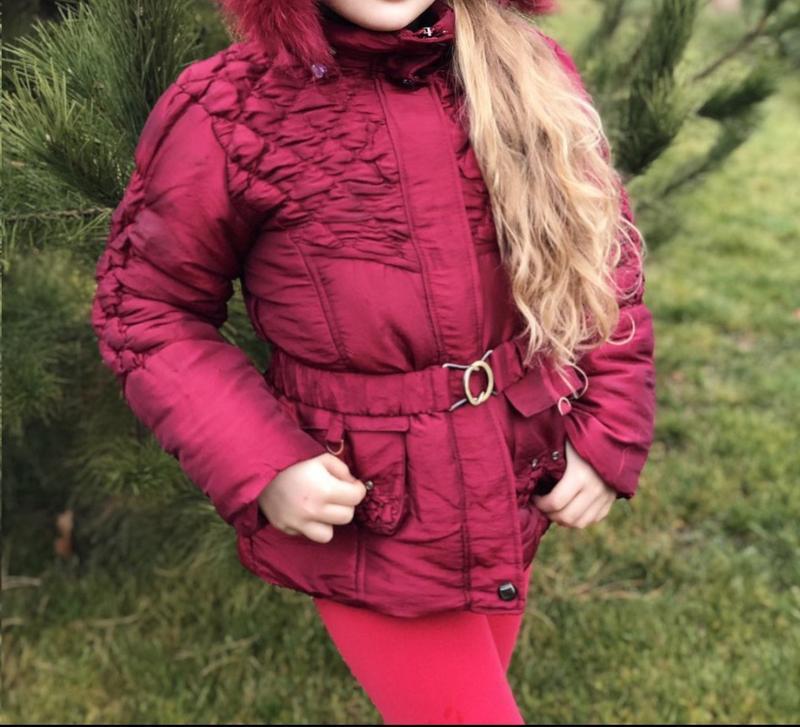 Теплая зимняя куртка,пальто для девочки,пуховик, см. описание!