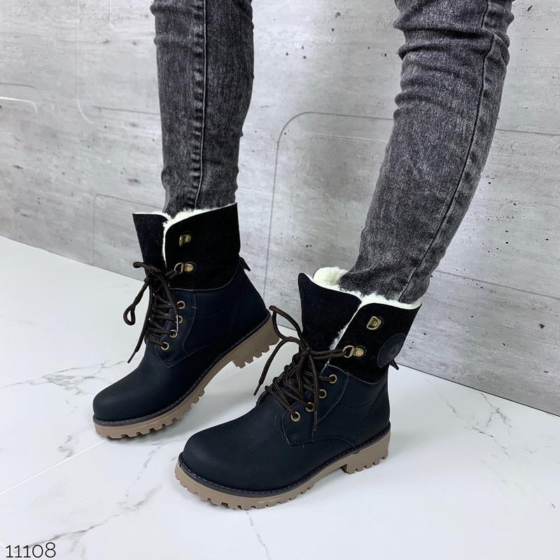Зимние ботинки черного цвета,стильные тёплые ботинки на шнуровке.