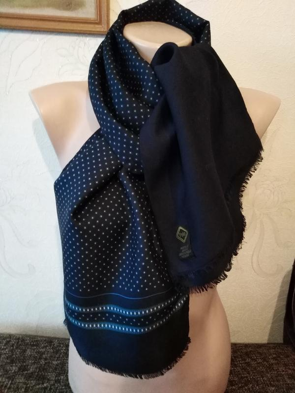 Темно-синий, шарф, кашне, двухслойный, двухсторонний, шерсть+ш...