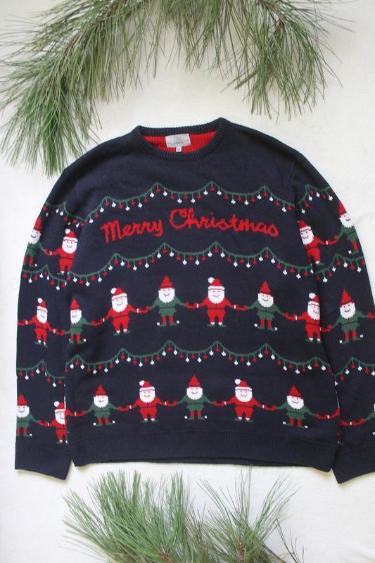 Мужской новогодний свитер с дедами морозами от f&f (18), разме...