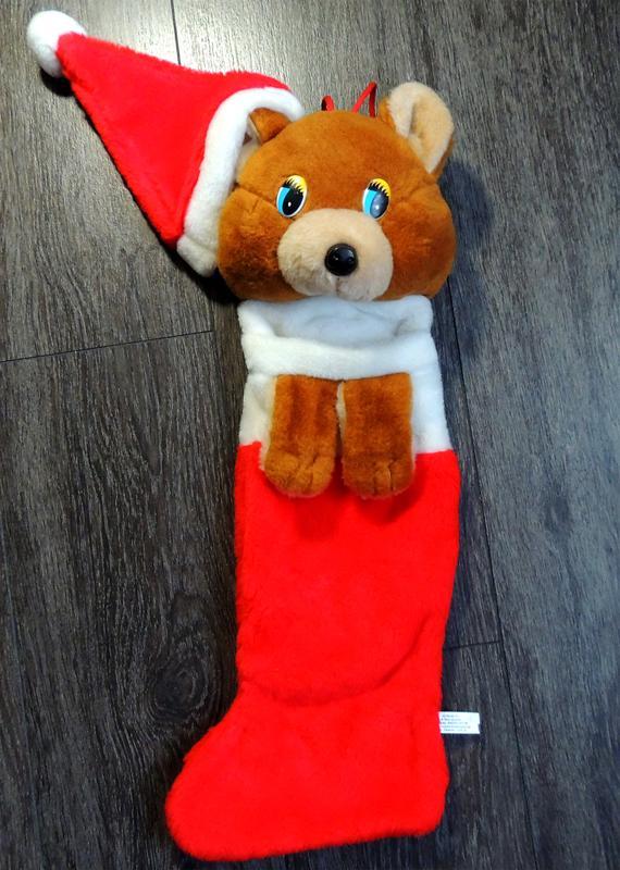 Новогодний сапог Мишка Санта Клаус для конфет и подарков