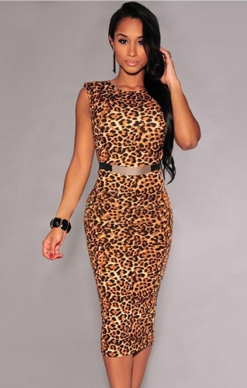 Платье миди по фигуре, в леопардовый принт.