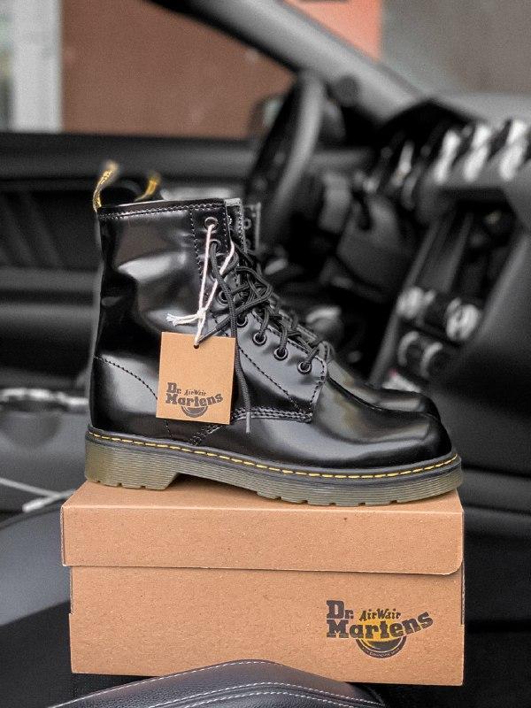 Dr. martens 1460 black шикарные женские зимние ботинки с густы... - Фото 4