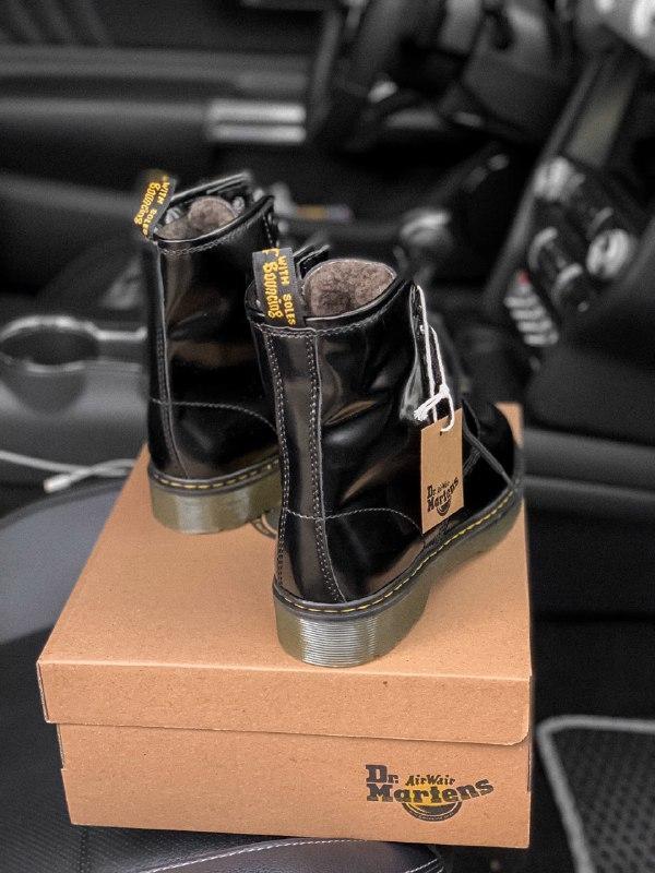 Dr. martens 1460 black шикарные женские зимние ботинки с густы... - Фото 5