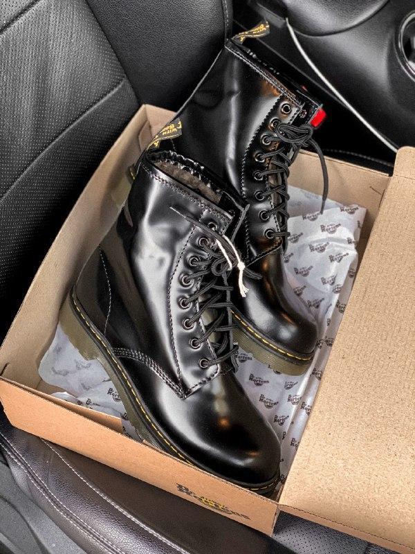 Dr. martens 1460 black шикарные женские зимние ботинки с густы... - Фото 6