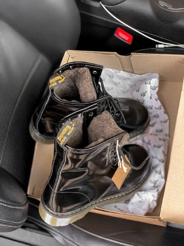 Dr. martens 1460 black шикарные женские зимние ботинки с густы... - Фото 7