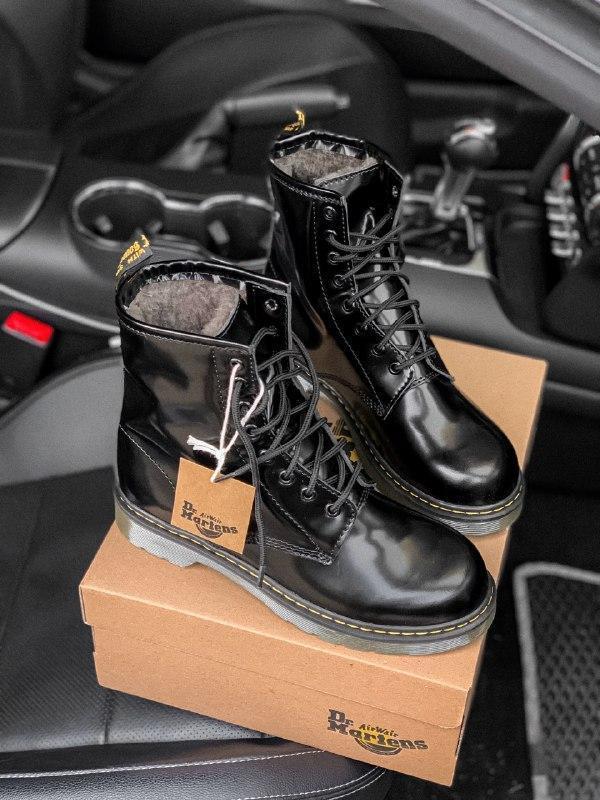 Dr. martens 1460 black шикарные женские зимние ботинки с густы... - Фото 8