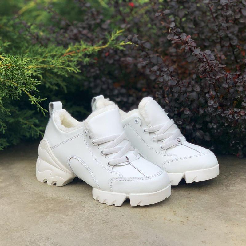 Christian dior fur white 🤗 женские зимние кроссовки белые с ме...