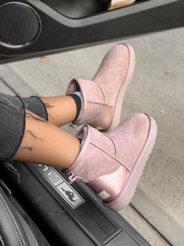 Шикарные женские зимние угги ugg classic mini pink metalic
