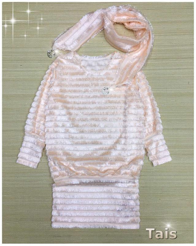 Праздничное платье -туника из пушистой ткани травка  с  шарфиком