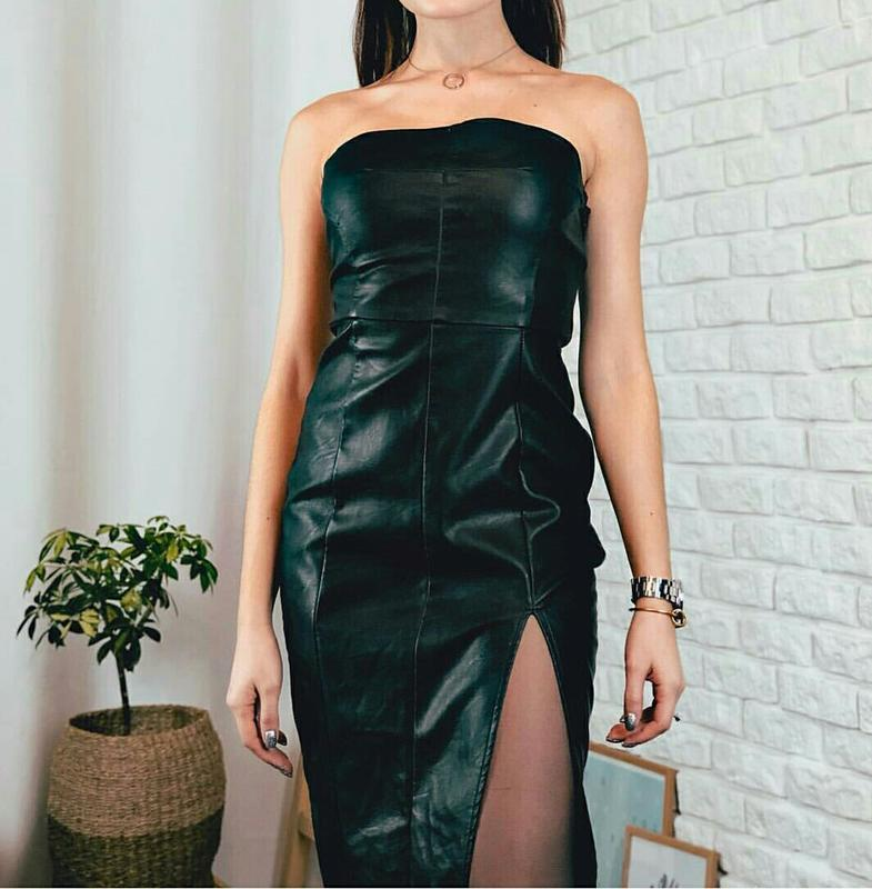 Плаття шкіра бюстьє з розрізом № 59